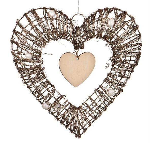 Сердце декоративное подвесное 30х26 см - фото 10118
