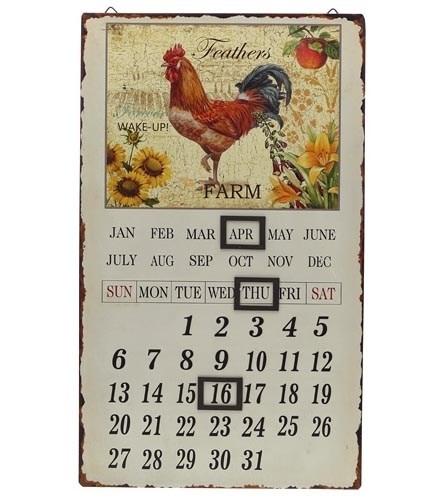 """Календарь магнитный металлический """"Петушок коричневый"""" - фото 10385"""