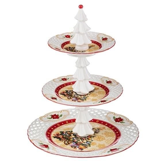 """Блюдо трехъярусное """"Новогодняя елка"""" в подарочной упаковке - фото 10393"""