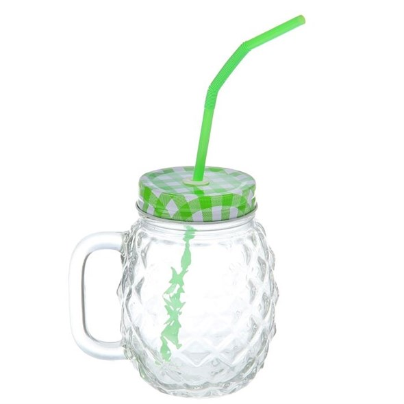 Кружка рифленая стеклянная с трубочкой 500 мл зеленая крышка - фото 10400