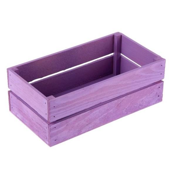 Ящик деревянный фиолетовый 24,5х13,5 см - фото 10433