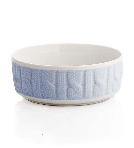 Миска керамическая вязанная большая с синей вставкой - фото 10434