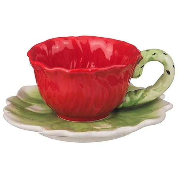 """Чашка с блюдцем """"Цветок мака"""" 200 мл - фото 10520"""