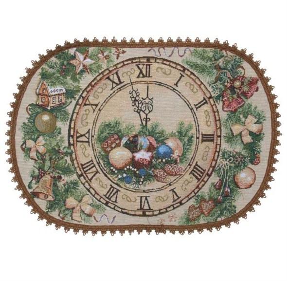 """Салфетка из гобелена """"Новогодние часы"""" 55х35 см - фото 10549"""
