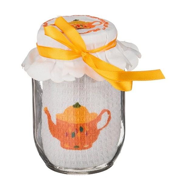 """Полотенце """"Чайник"""" вафельное 40х60 см в стеклянной баночке 500 мл - фото 10553"""