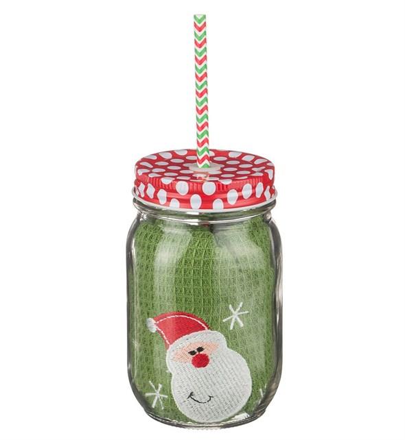 """Полотенце """"Дед Мороз"""" вафельное 35х50 см в стеклянной баночке с трубочкой 500 мл - фото 10554"""