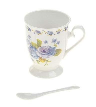 """Кружка с ложкой """"Голубые цветы"""" 350 мл - фото 10598"""