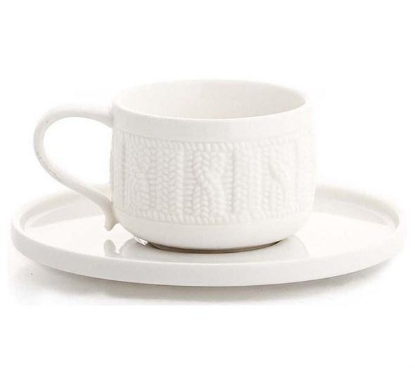 Чашка с блюдцем керамическая вязанная 220 мл - фото 10604