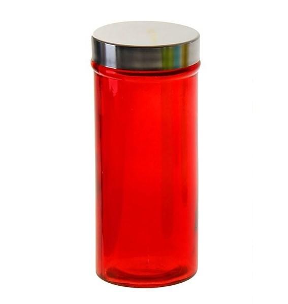 Банка для сыпучих стеклянная красная - фото 10754