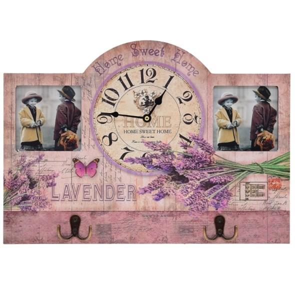 """Часы настенные """"Лаванда Прованса"""" с крючками и двумя фоторамками - фото 11354"""