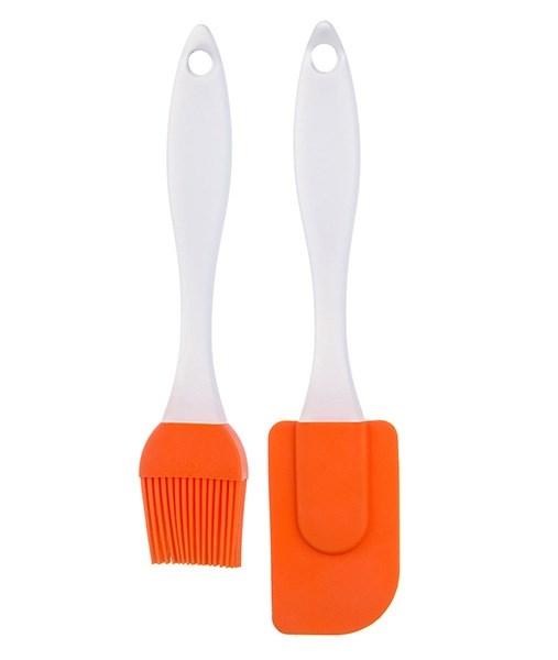 Набор из кисточки и лопатки оранжевый - фото 11877