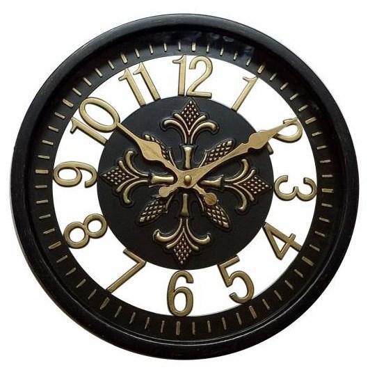 """Часы настенные """"Цифры"""" черные диаметр 30 см - фото 12010"""