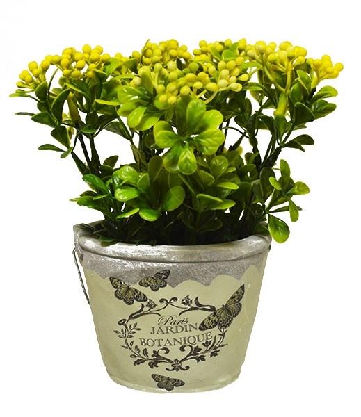 Цветок искусственный в кашпо желтый - фото 12550