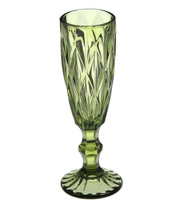 """Бокал для шампанского """"Клетка"""" 150 мл зеленый из цветного стекла - фото 12934"""