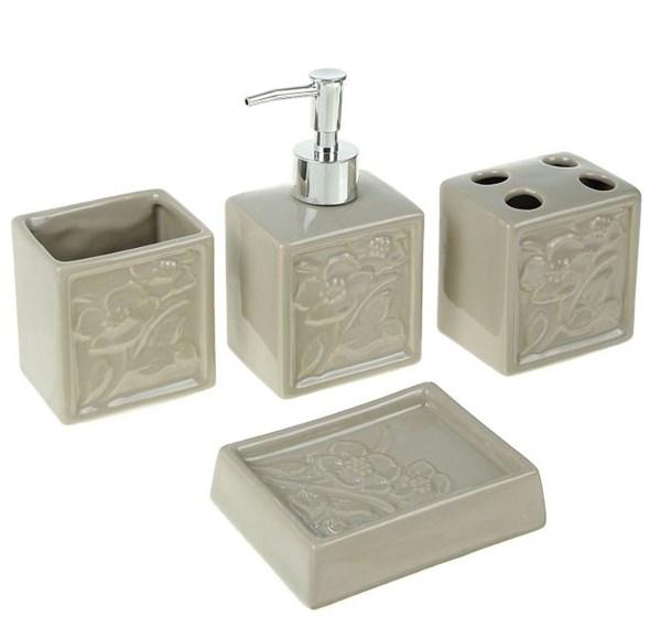 """Набор для ванной """"Цветы"""" серый из четырех предметов - фото 13135"""