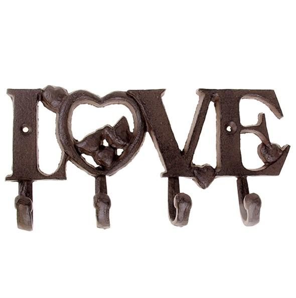 """Вешалка настенная """"Любовь/Love"""" с четырьмя крючками металлическая - фото 13293"""