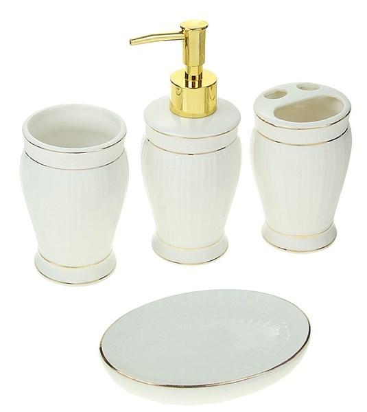 """Набор для ванной """"Античность"""" белый из четырех предметов - фото 13295"""