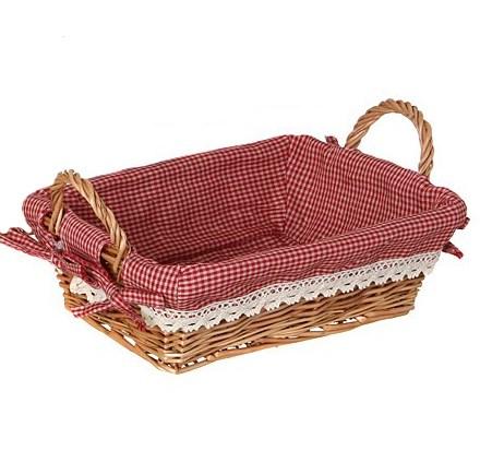 Корзинка средняя прямоугольная с красной подкладкой - фото 13535
