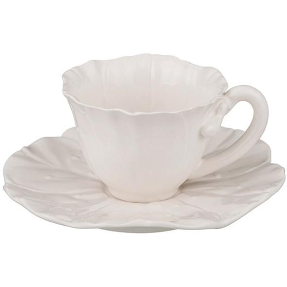 "Чашка с блюдцем ""Белый цветок"" 200 мл - фото 13610"