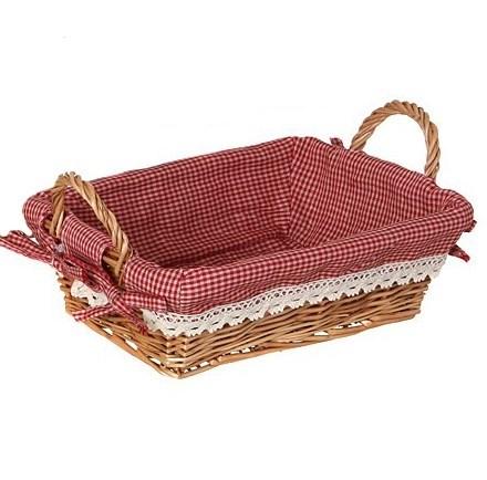 Корзинка малая прямоугольная с красной подкладкой - фото 13689