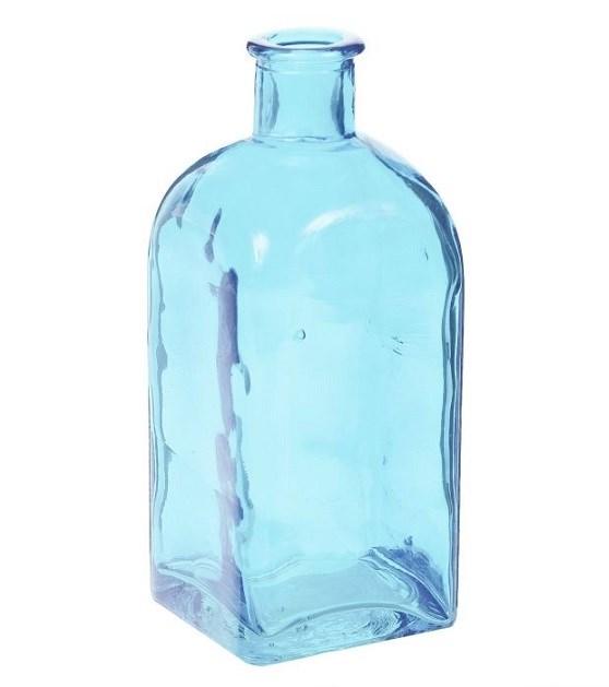 Ваза-бутылка стеклянная голубая - фото 13914