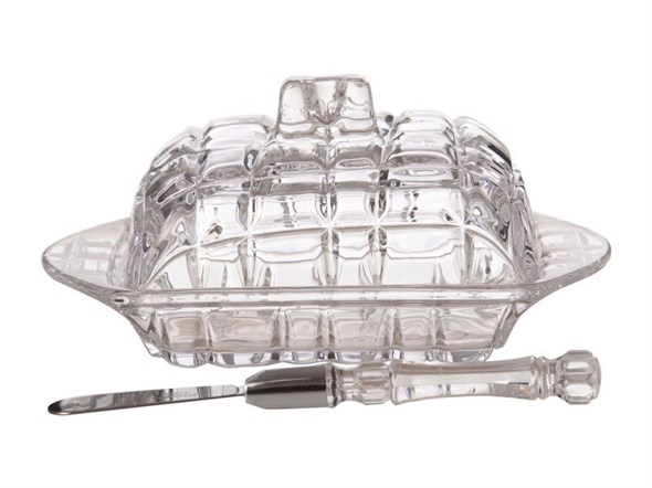 Масленка стеклянная с ножом - фото 13971