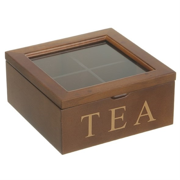 Шкатулка для чайных пакетиков на 4 отделения коричневая - фото 14022