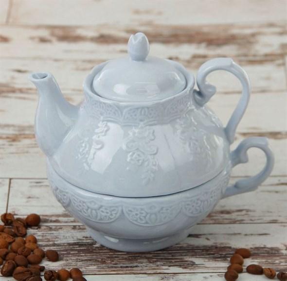 "Набор ""Лоза"" 380 мл голубой из чашки и чайника - фото 14078"