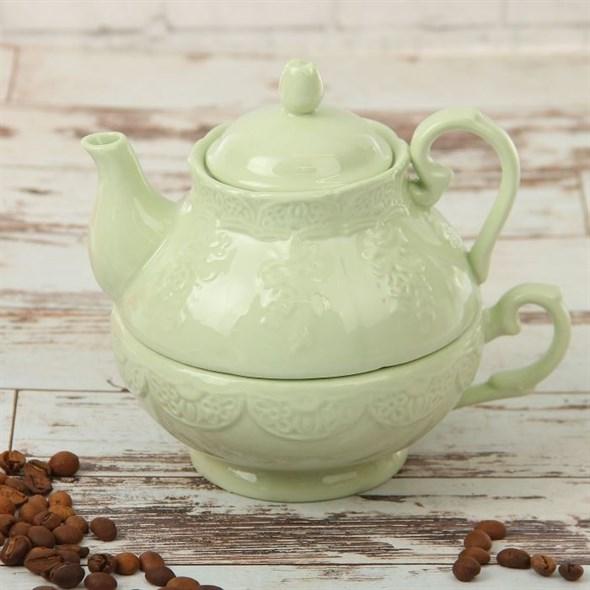"Набор ""Лоза"" 380 мл зеленый из чашки и чайника - фото 14079"