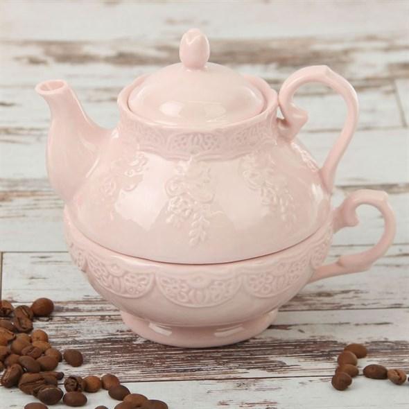 "Набор ""Лоза"" 380 мл розовый из чашки и чайника - фото 14080"