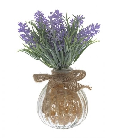 Лаванда искусственная фиолетовая в вазочке - фото 14231