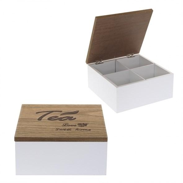Шкатулка для чайных пакетиков на четыре отделения (уценка) - фото 14461