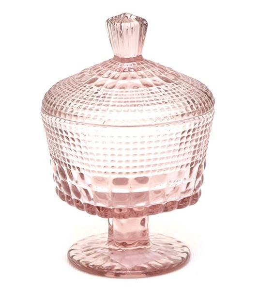 Конфетница стеклянная с крышкой 220 мл розовая - фото 15158
