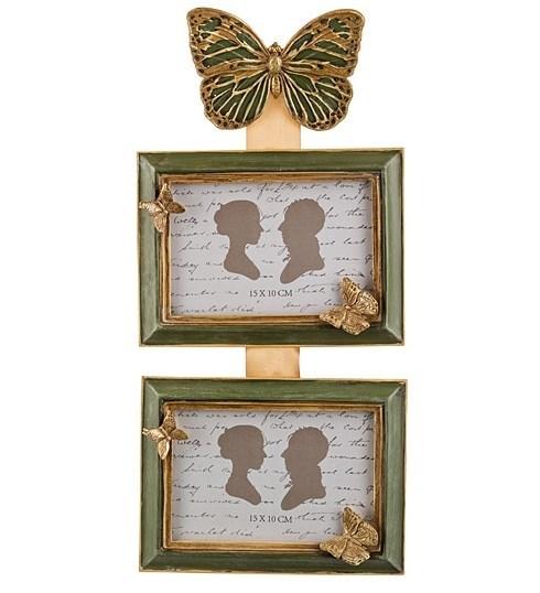 """Фоторамка на два фото """"Бабочки"""" для фотографии 10х15 см - фото 15860"""