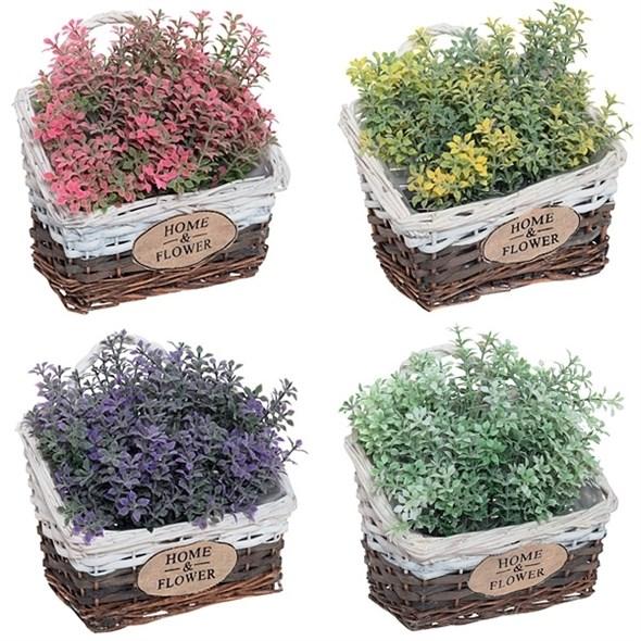 Цветы искусственные в корзинке в ассортименте - фото 15864