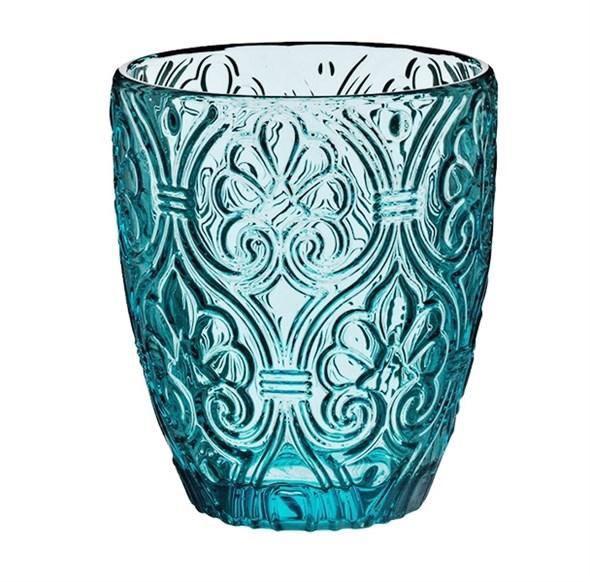 """Стакан """"Вензеля"""" голубой 320 мл из цветного стекла - фото 15991"""