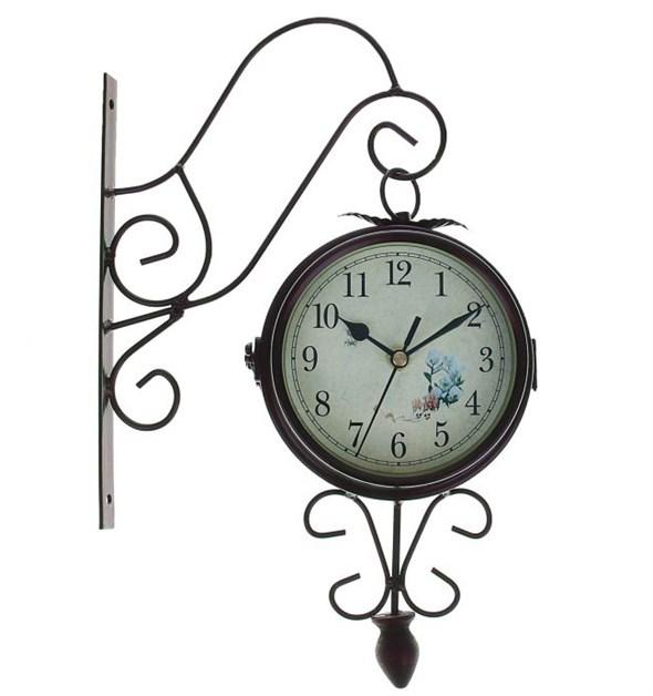 Часы настенные двусторонние металлические диаметр 14,5 см - фото 16025