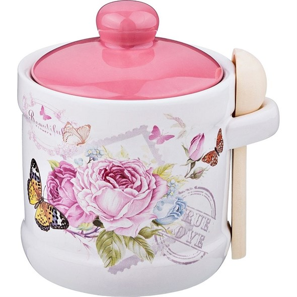 """Сахарница с ложечкой """"Бабочки и цветы"""" - фото 16700"""