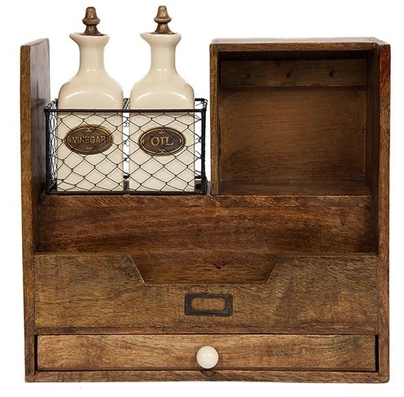 Ящик деревянный с бутылками для масла и соуса - фото 17082