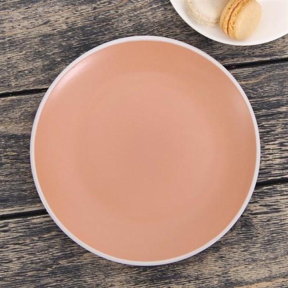 Тарелка керамическая 19 см розовая - фото 17623