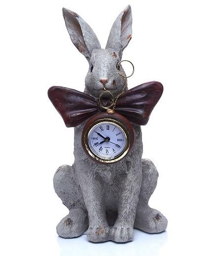 """Статуэтка-часы """"Кролик с бантом"""" высота 24 см - фото 17735"""