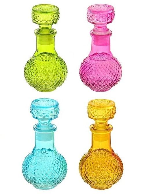 Бутылочка стеклянная 100 мл в ассортименте разные цвета - фото 17828