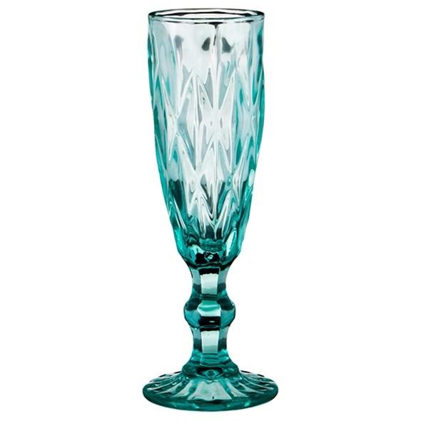 """Бокал для шампанского """"Клетка"""" бирюзовый 150 мл из цветного стекла - фото 17887"""
