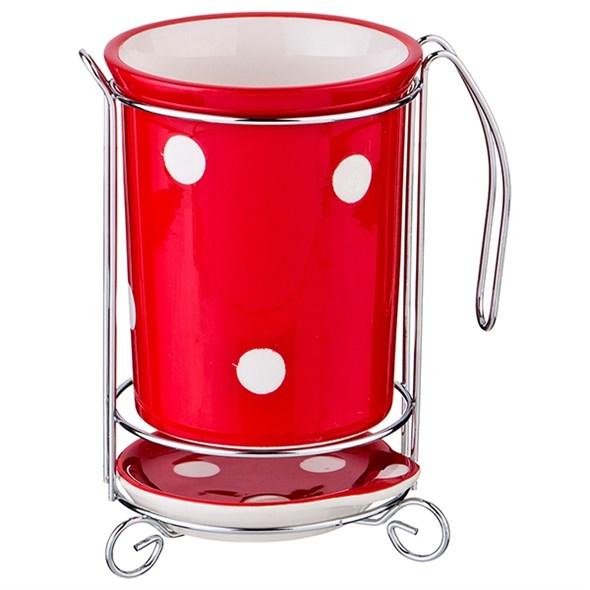 """Подставка для кухонных приборов """"Красный горох"""" - фото 18077"""