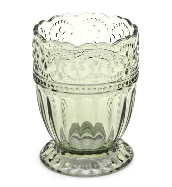 """Стакан """"Кружево"""" оливковый 250 мл из цветного стекла - фото 18146"""