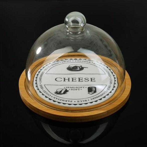 """Блюдо деревянное с клошем """"Сыр"""" диаметр 23 см"""