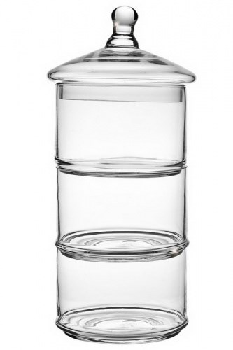 Конфетница стеклянная на три отделения высота 39 см - фото 18429