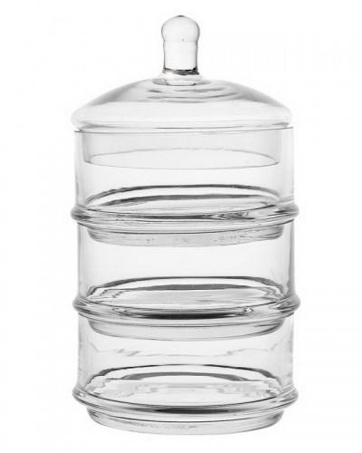 Конфетница стеклянная на три отделения высота 22 см - фото 18430