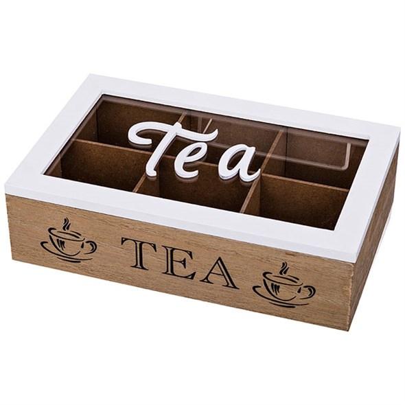 Шкатулка для чайных пакетиков на шесть отделений белая - фото 19056