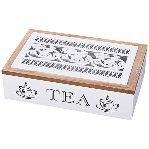 Шкатулка для чайных пакетиков белая - фото 19057